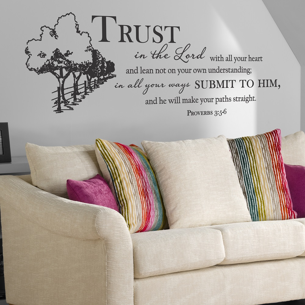 Proverbs 3 5 6 Bible verses Spanishs vinyls wall stickers Christian living room bedroom decorative wall stickers SJ01 in Wall Stickers from Home Garden