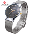 JULIUS JA-577 Men's Silver Black Mesh Stainless Steel Quartz Analog Fashion Casual Wrist Watch Male Waterproof Business Watch