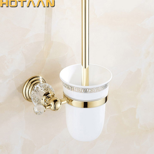 Hotaan Free Shipping Wall Mounted Toilet Brush Holder Ceramic Cup Construction Base Gold Color Bathroom Accessories Yt 12812