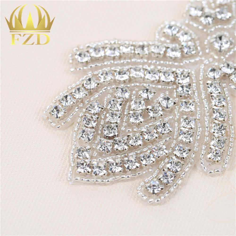 ... 1Piece Handmade Beaded Sewing Rhinestones Wedding Belt Appliques  Crystal Trimming Strass Patches For Bridal dress FA 630b445e66e7