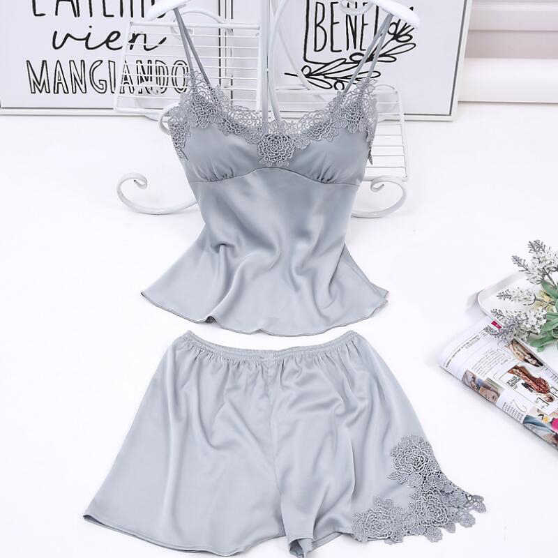 Summer Pajamas Woman Spaghetti Strap Satin Solid Embroidery Flowers V-neck Sleeveless Sexy Camisole And Shorts Sets
