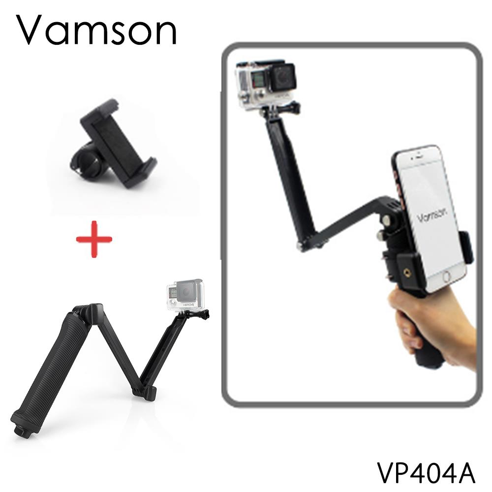 Vamson for Go pro Accessories Collapsible 3 Way Monopod Mount Camera Grip Extension Arm Tripod for Gopro Hero 6 5 4