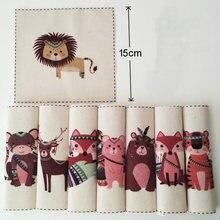 8 шт., индийские животные, Лев, лиса, тигр, обезьяна, хлопок, лен, ручная роспись, цифровая печать, Стёганое одеяло, ткань, сделай сам, шитье, пэчворк