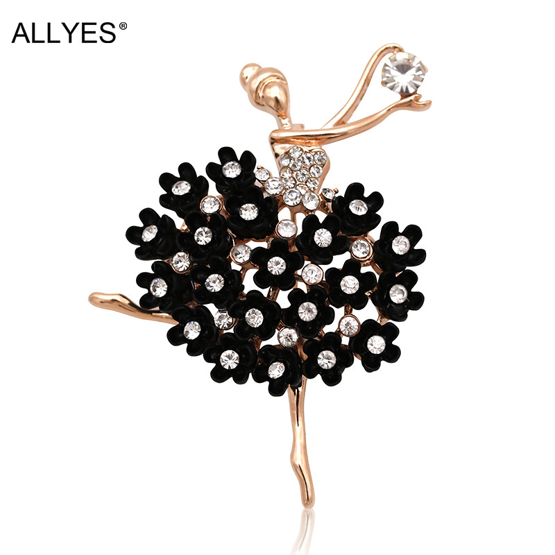 ALLYES Ballerina Brooches For Women Female Clothes Jewelry Fashion Rose Gold Color Alloy Ballet Dancer Crystal Brooch Pins