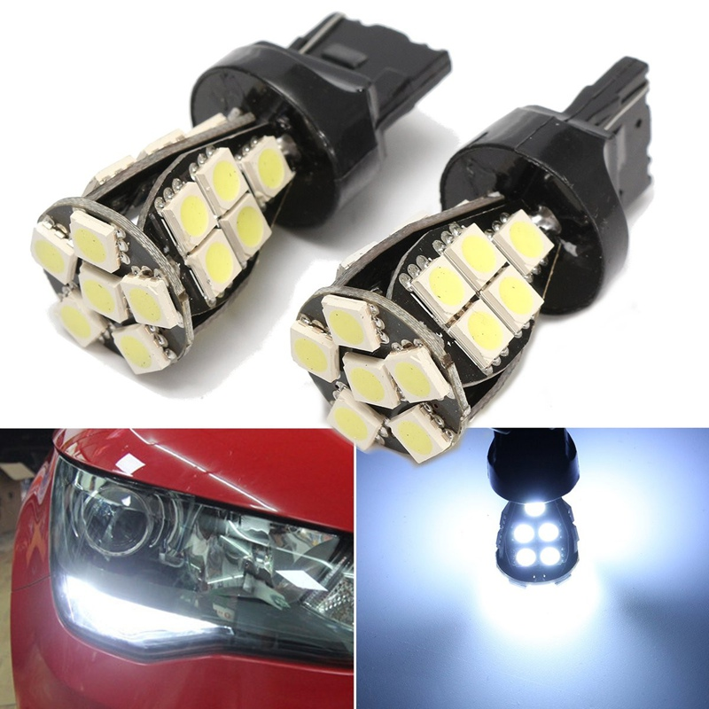2x T20 W21 5W T20 6000K LED Car Auto White Daytime DRL Sidelight Bulbs Lamps Stop Light CANBUS NO ERROR carprie super drop ship new 2 x canbus error free white t10 5 smd 5050 w5w 194 16 interior led bulbs mar713
