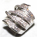 SZ 6-11  Wholesale Victoria Wieck Pave set 170PCS Topaz Simulated Diamond 10KT White Gold Filled Wedding Band Ring