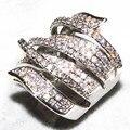 Sz 6 - 11 виктория вик вымощает комплект 170 шт. топаз имитация алмаз 10KT белое золото заполненные свадьба лента кольцо