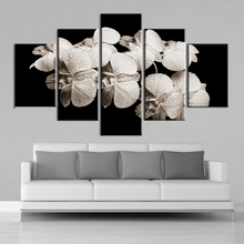 Canvas Painting Printed Modular Poster 5 Pieces Black And White Floral Wall Art HD Pictures Minimalism Bedroom Home Decoration
