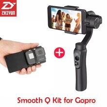 Zhiyun-tech zhiyun smooth Q 3 Axis Gimbal Steadicam Stabilizer for iPhone X 8 Gopro Hero 5 SJCAM SJ7 Xiaomi Yi 4k action camera