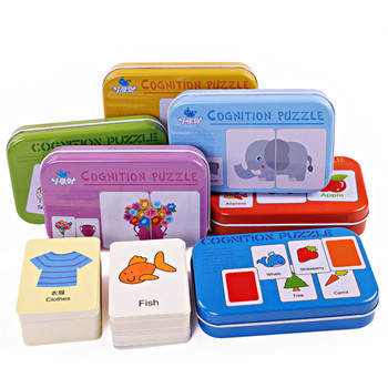 цена 4 Boxes/set Kids Cognition Puzzle Toys Iron Box Matching Game Fruit Animal Life Sets Pair Puzzles Infant Learning Toy Children онлайн в 2017 году