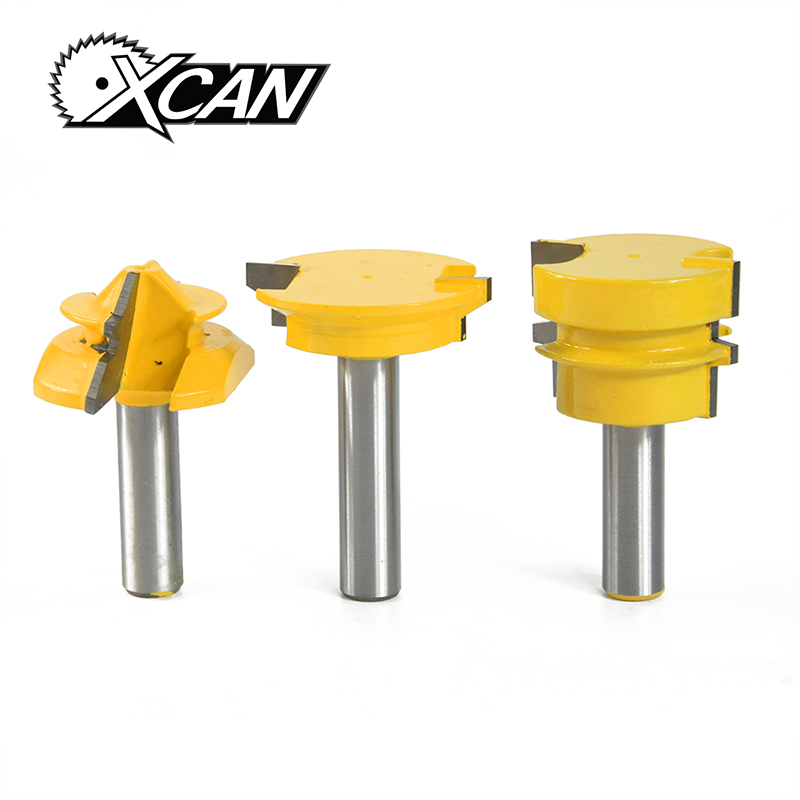 XCAN 3Pc Jointing Router Bit Set 1/2 shank -Lock Miter, Glue Joint, Drawer Front Woodworking cutter Tenon Cutter for Woodworking xcan 10pcs 3 175mm cnc router tool 30