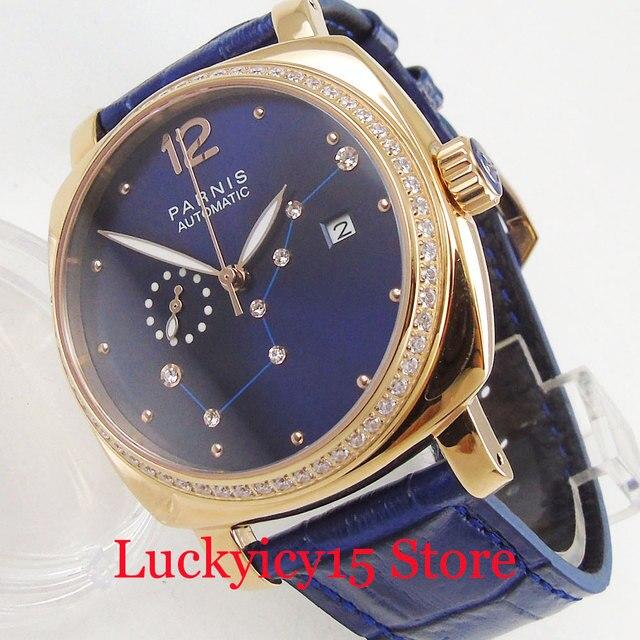 39mm Mode Design Automatische herren Uhr Gold Überzogene Uhr Fall Kleid Blau Zifferblatt Blau Riemen Auto Datum Diamant  wie Marks-in Mechanische Uhren aus Uhren bei