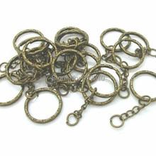 Античные бронзовые брелки и кольца для ключей, длина 53 мм (2 1/8 дюйма), Бесплатная доставка, M00726