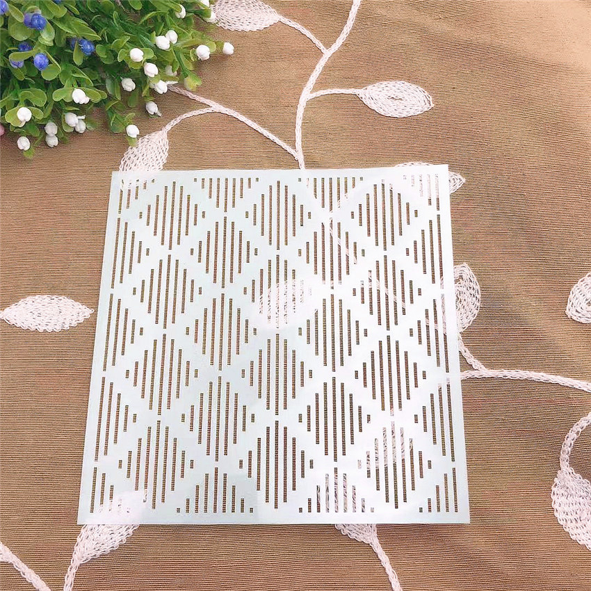 Line Diamond Scrapbook Stencils Spray Plastic Mold Shield DIY Cake Hollow Embellishment Printing Lace Ruler Valentine