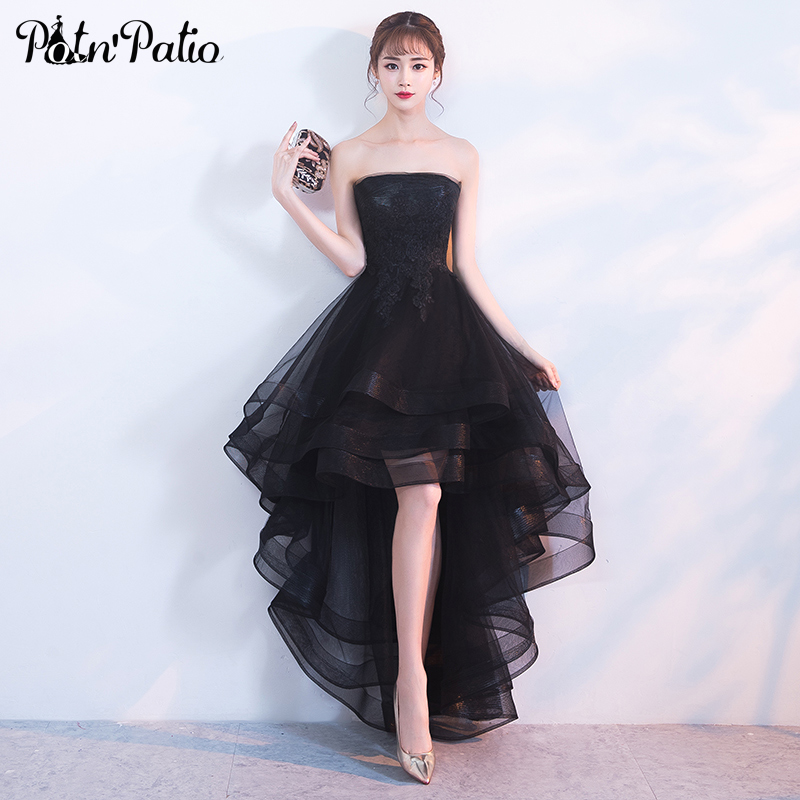 Sexy Strapless Black Prom Dresses 2019 Luxury Appliques Tiered Tulle Short Front Long Back Evening Gowns High Low Prom Dresses