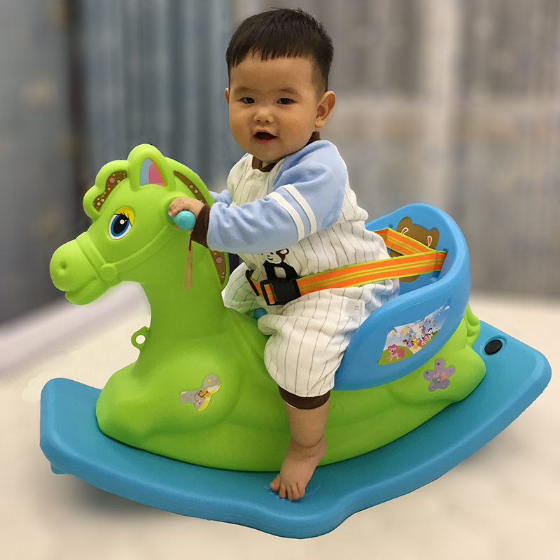 все цены на Children Rocking Horse Thickening Plastic Ride on Animal Toys Rocking Horse with Safety Harness Seat Music Baby Rocking Chair