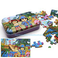 60Pcs Puzzles Toys With Metal Box Cartoon Paper Model Jigsaw puzzle Baby Kids Movie&TV Classics Toy