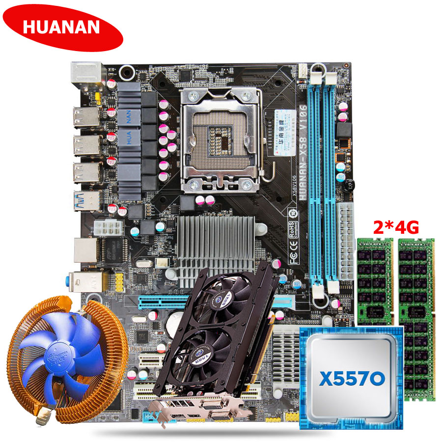 цена на Hot seller HUANAN X58 motherboard CPU memory video card combos with CPU cooler Xeon X5570 8G DDR3 server memory RECC GTX760 2G