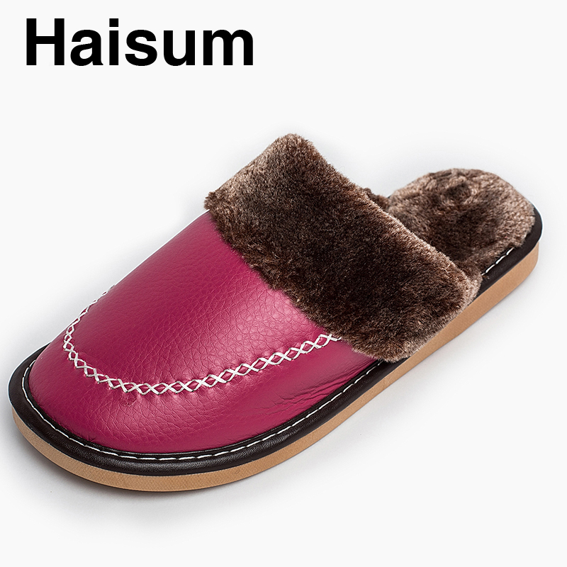 Ladies Slippers Winter Pu Leather Thick With Plush Home Indoor Non-slip Thermal Slippers 2018 New Hot Sale Haisum Tb011 men s slippers winter pu leather home indoor non slip thermal slippers 2018 new hot haisum h 8007