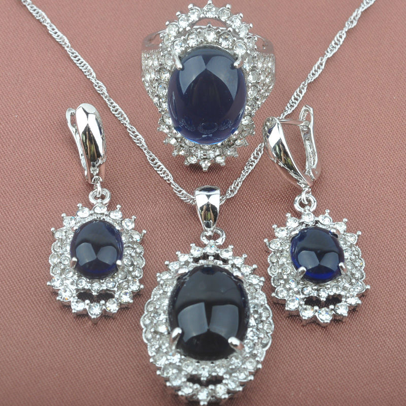 Noble Womens Blue Zirconia Stamped 925 Sterling Jewelry Sets Necklace Pendant Earrings Rings Free Shipping TS027