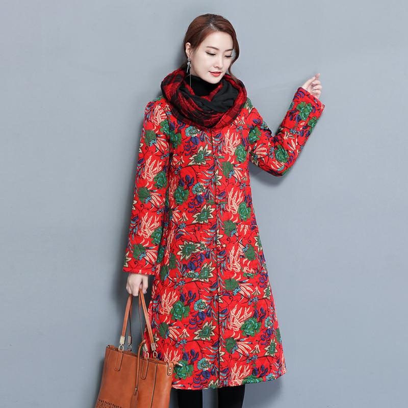 Winter jacket women 2017 Long-sleeved warm parkas autumn Cotton and linen loose  coat women  Winter new national style park