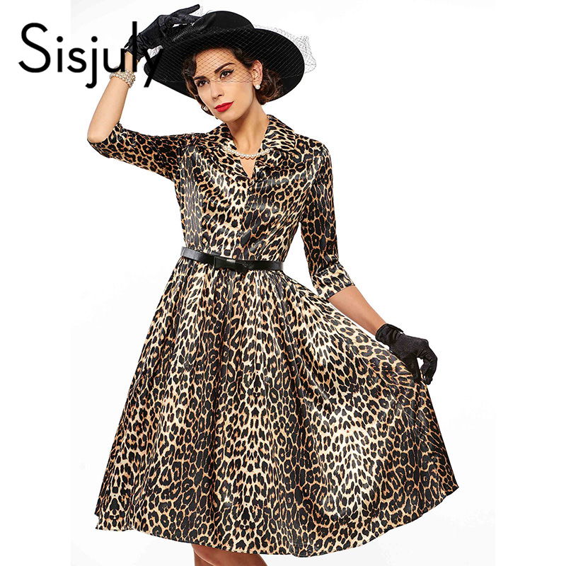 Sisjuly women high quality dress leopard print half sleeve a line with belt party summer fall womens lapel knee-length dresses