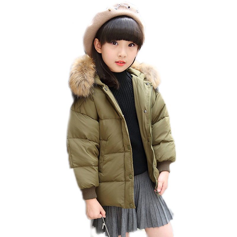 children winter coat 2017 winter girls down jackets short thicken white duck down baby coats big collar hooded children outwear new winter baby girls clothes white duck down parka warm goose down jackets for kid warm long coats big fur hooded for children