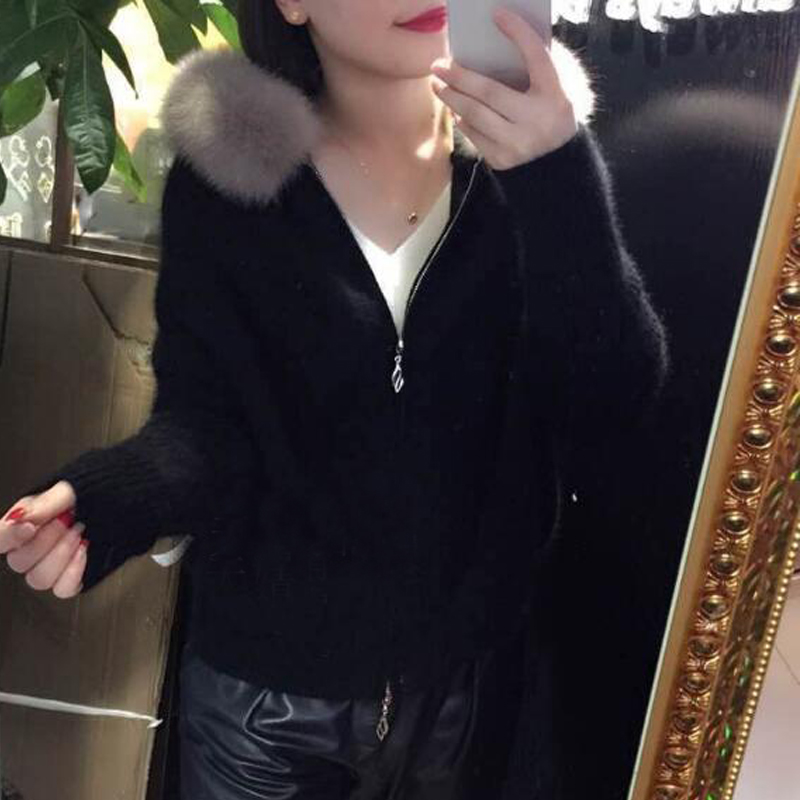2019 New Women Real Mink Cashmere Coat Sweater Women With Natural Fox Fur Collar And Zipper Cardigans Ladies Tsr554