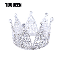 TDQUEEN Tiaras and Crowns Women Big Size Full Round Rhinestone Crown New Arrival Wedding Party Jewelry Bridal Hair Accessories