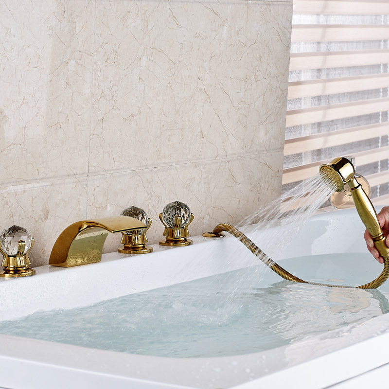 Deck Mounted Waterfall Curve Spout Bathroom Tub Sink Faucet ...