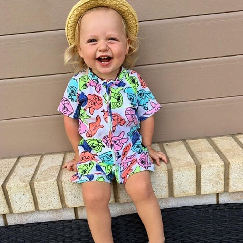 2018 Floral Printed Baby Clothes Cotton Rompers Baby Boy Jumpsuit Toddler Rompers with Zipper Baby Girl Clothes Ropa Bebe SR248