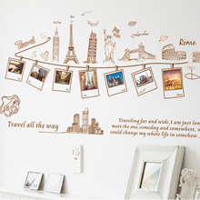 World Travel Photo Frame Wall Stickers For Bedroom Sofa Hall Decorated Removable Wall Stickers Wholesale