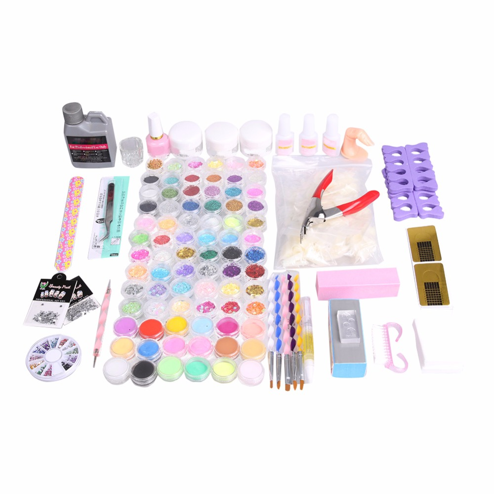 78 Nail Art Set Glitter Ball Liquid Stripe Velvet Nails Decorations Sticker Laser Glitter Tips Sequins Nails Acrylic Powder Set top nail 20 rolls of laser gold silver glitter striping tape line nail art tips decals beauty transfer foil stickers for nails