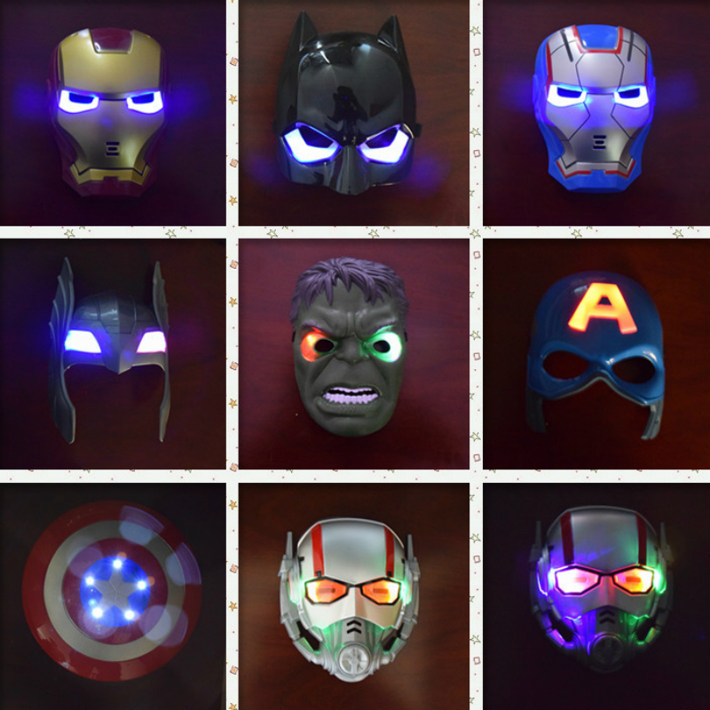 Kids Masks with Light Anime Cosplay for Iron Man Batman Superman Hulk Costume for Children Game Mask in Halloween Carnival Party
