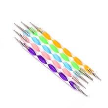 5Pcs 2 Way Nail Art Dotting Pen Crystal Handle Gel Nail Polish Drawing Pencil Manicure Nail Art Tool Set