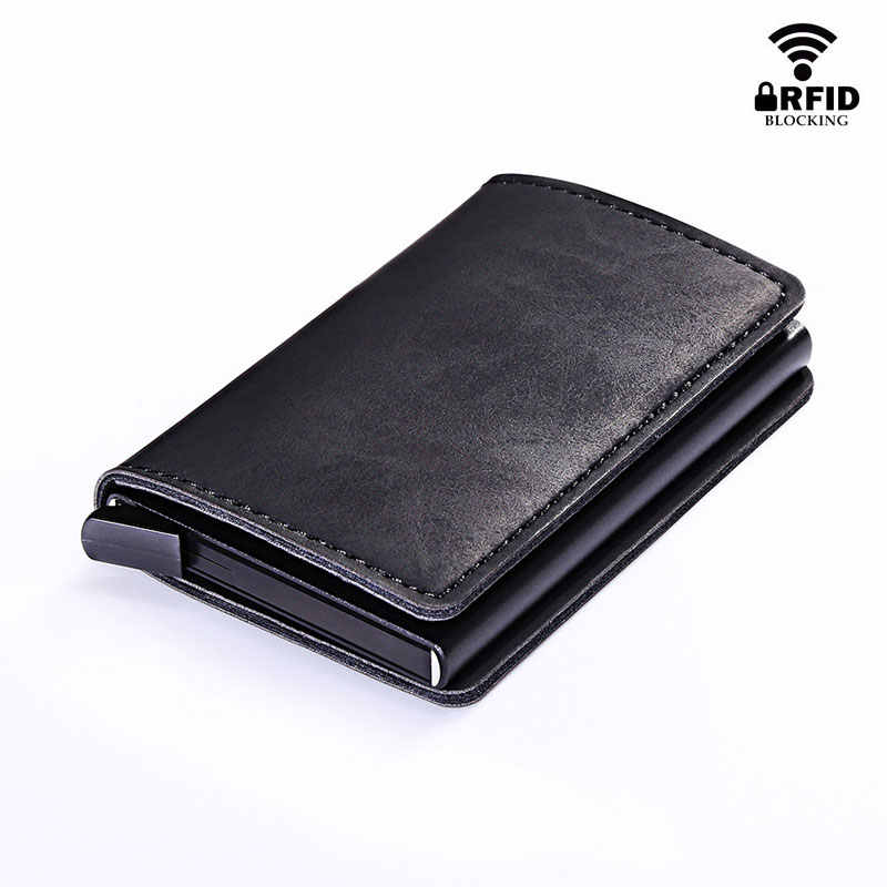 RFID Blocking Vintage Automatic Leather Credit Card Holder Men Aluminum Alloy Metal Business ID Multifunction Cardholder Wallet