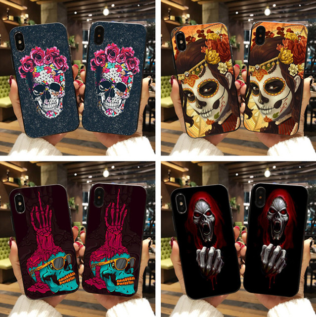 FLOWER SKULL IPHONE CASE (18 VARIAN)