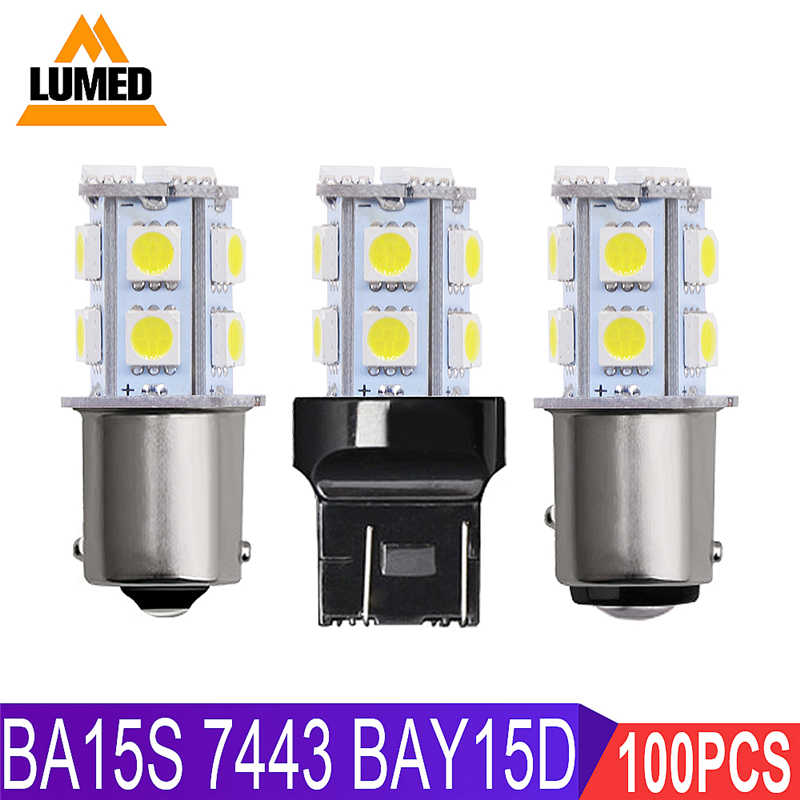 100x 1156 1157 7443 LED BA15S BAY15D T20 P21W Car LED Lights Stop Brake Reverse Lamp Turn Signal Light 13 5050 LED 12V 24V