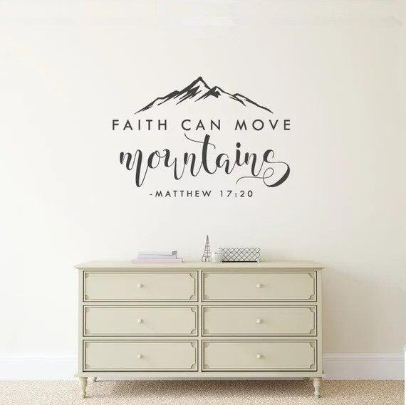 Glauben Kann Bewegen Berge-Matthew 17:20-Bibel Vers Vinyl Wand Aufkleber Zitat Christian Wand Dekor für Home decor