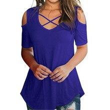 цены на Summer T-shirt Female Short Sleeve Sexy V-Neck Loose Tees Fashion Plus Size T-Shirts Women Beach Solid Color Spring Summer Tops  в интернет-магазинах