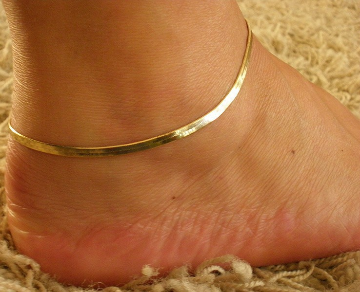 gold anklet dp amazon claddaugh inch ankle bracelet com long solid