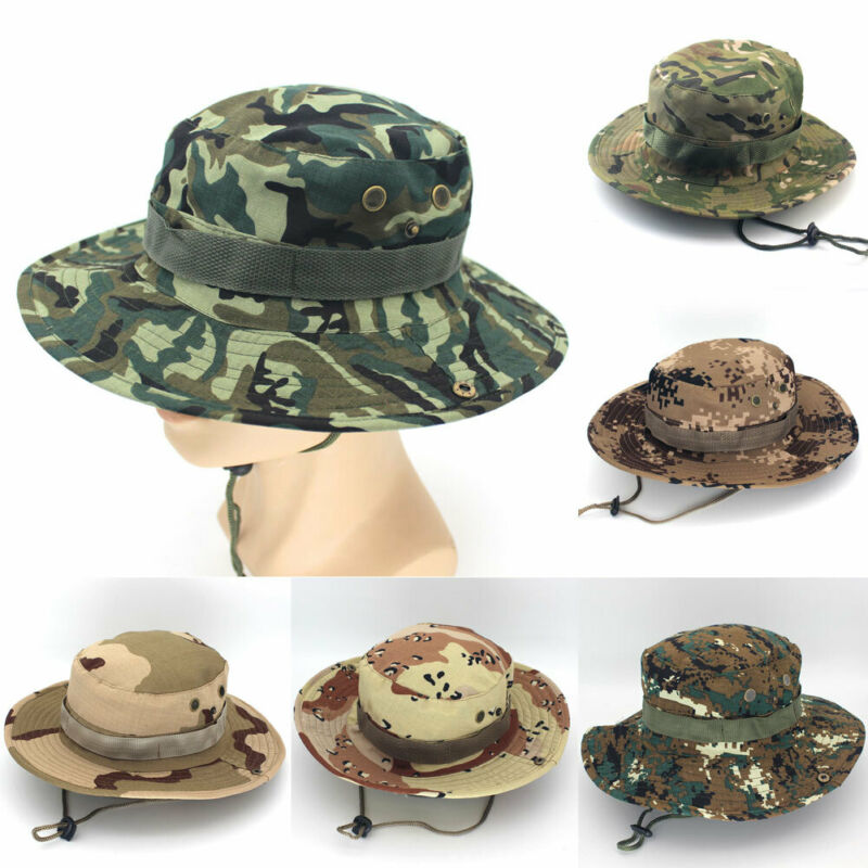 2019 Hot Bucket Hat Boonie Hunting Fishing Outdoor Cap Wide Brim Military Unisex Sun Camo