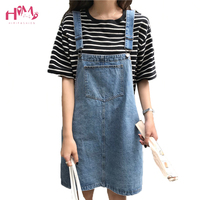 2018 Summer Women Flower Embroidery Denim Jumper Dress Pocket Adjustable Strap Jeans Bib Overall Dress Korean Slim Mini Dress