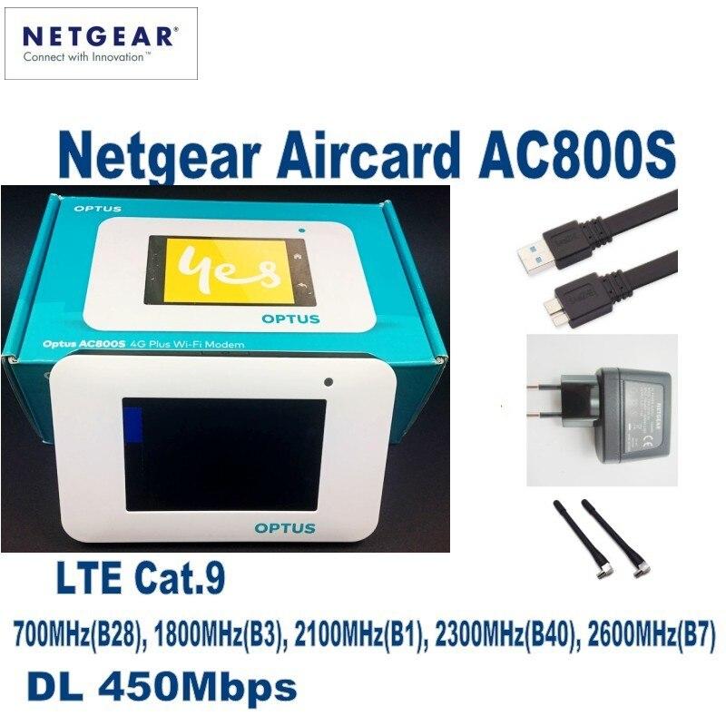 UNLOCKED Netgear Aircard AC800S 4G LTE Cat 9 Mobile Hotspot WiFi Router Modem plus 4g antenna
