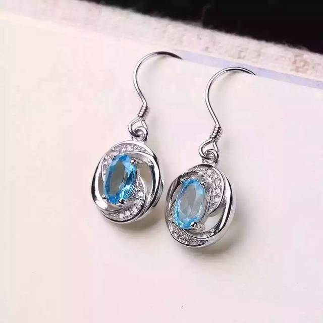 natural blue topaz stone drop earrings 925 silver Natural gemstone earring women romantic fashion drop earrings for party