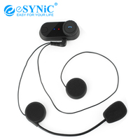 eSYNiC 800m Bluetooth Walkie Talkie + Soft Line + Clip Support 3 People So Switch Intercom For Motorcycle Helmets T COM Headset
