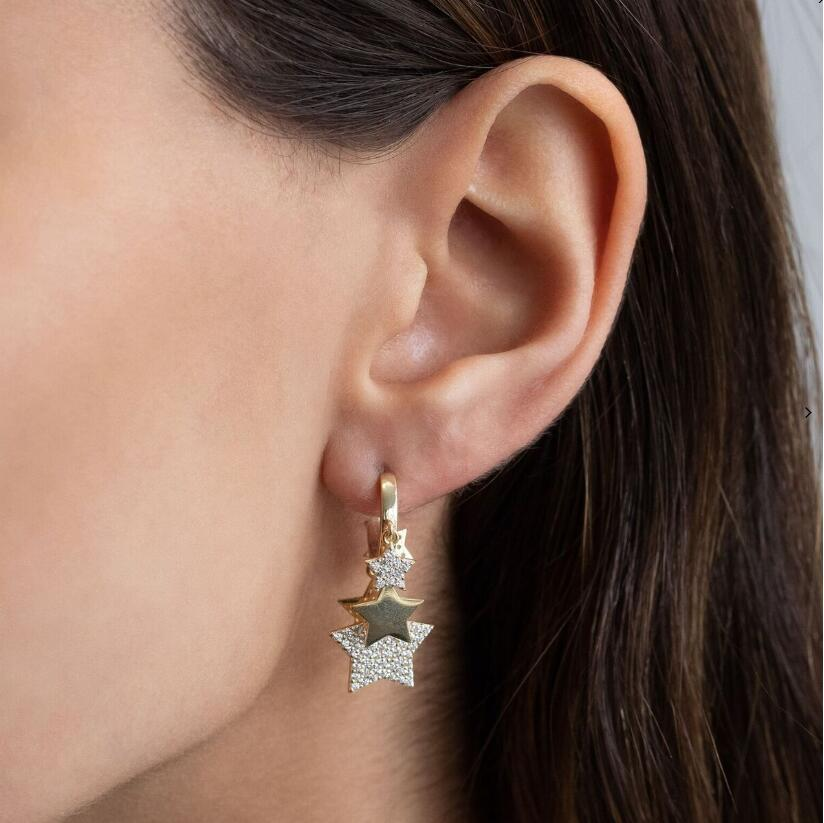 5 pcs star charm dangle <font><b>drop</b></font> <font><b>earring</b></font> <font><b>gold</b></font> silver color <font><b>elegance</b></font> gorgeous European women fashion <font><b>jewelry</b></font> image