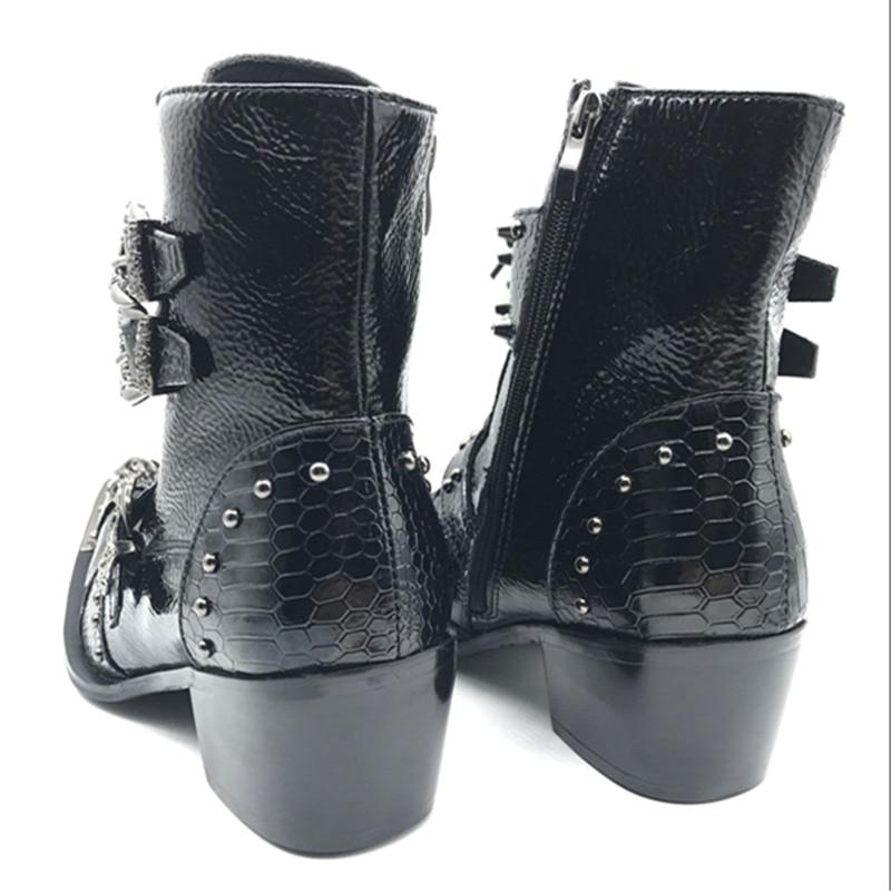 814f435283 Mabaiwan estilo Punk zapatos de cuero para hombre botas de vaquero militar  botas altas botas de goma de Metal puntiagudas con cordones zapatos con  hebilla ...
