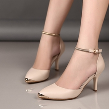 Black Apricot Pink Wine Red PU Pointy Toe Belt Buckle 8 CM Thin Heels Korean Style Women Banquet Shoes Discount Cheap Sale
