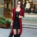 Autumn And Winter Cotton Knitting Elegant Long Cardigan Sweater Women 7 Colors Slim Outerwear Sweater Cardigan Women Plus Size